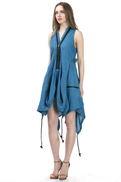 Sleeveless asymmetric hem denim dress - Serob  - 2