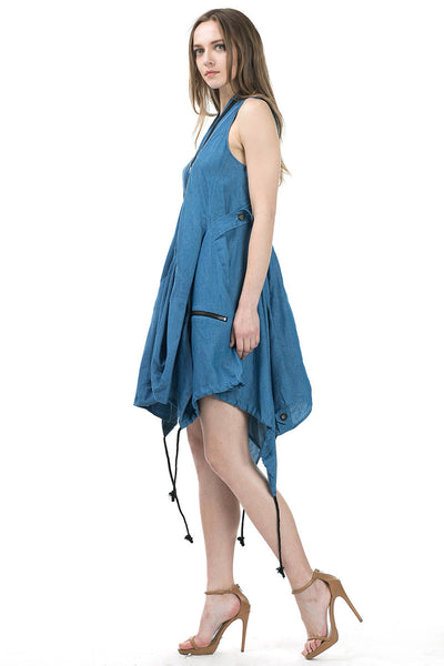 Sleeveless asymmetric hem denim dress - Serob  - 3