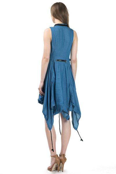 Sleeveless asymmetric hem denim dress - Serob  - 4