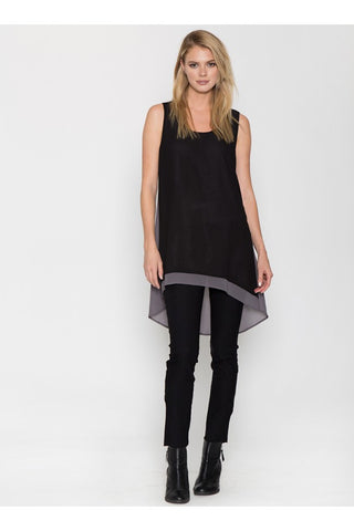 Black and Grey High Low Sleeveless Tunic Dress - Serob