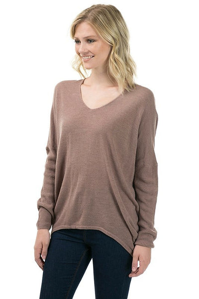 Long Sleeve V Neck Acrylic Moca Sweater with Back Seam - Serob  - 3