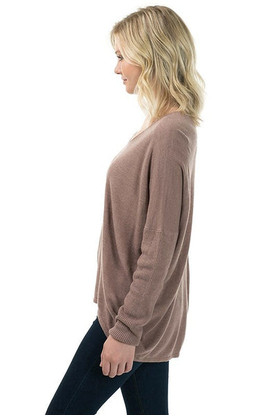 Long Sleeve V Neck Acrylic Moca Sweater with Back Seam - Serob  - 4