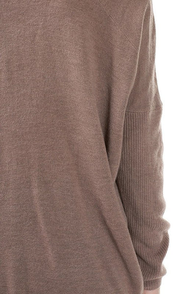 Long Sleeve V Neck Acrylic Moca Sweater with Back Seam - Serob  - 5