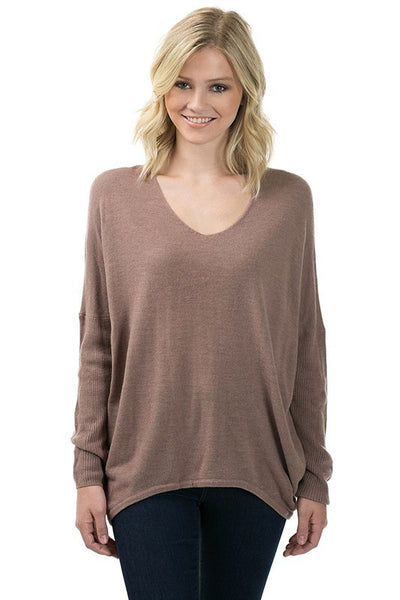 Long Sleeve V Neck Acrylic Moca Sweater with Back Seam - Serob  - 1