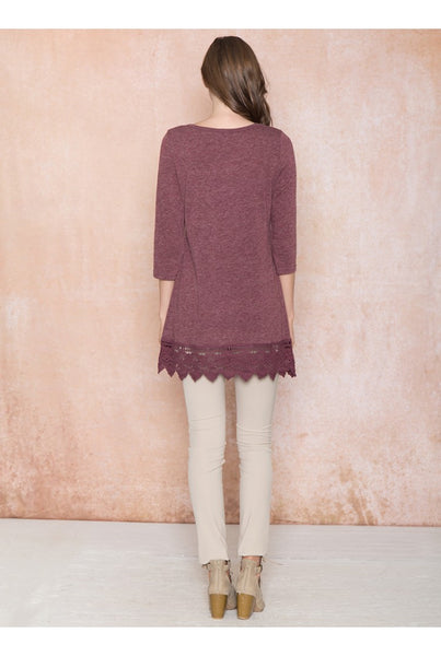 Basic Long Sleeve Dress with Crochet Hem - Serob  - 3