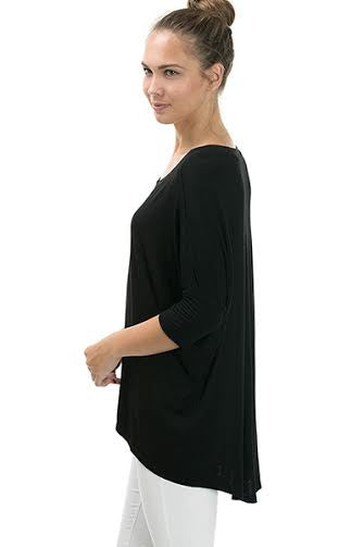 3/4 Sleeve Basic Rayon Top With Crossover Hem - Serob  - 2