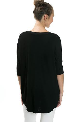 3/4 Sleeve Basic Rayon Top With Crossover Hem - Serob  - 3