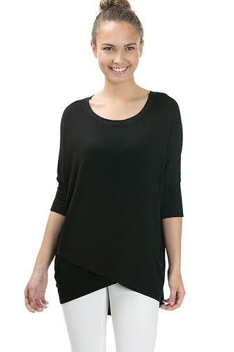 3/4 Sleeve Basic Rayon Top With Crossover Hem - Serob  - 1