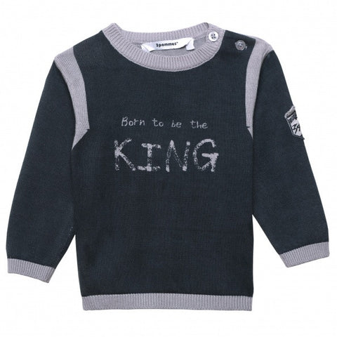 Born to be King Print Sweater for Baby Boy - Serob