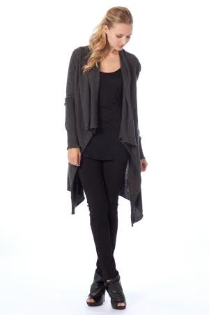 Crossover Closure Cardigan With Draped Neck - Serob  - 1