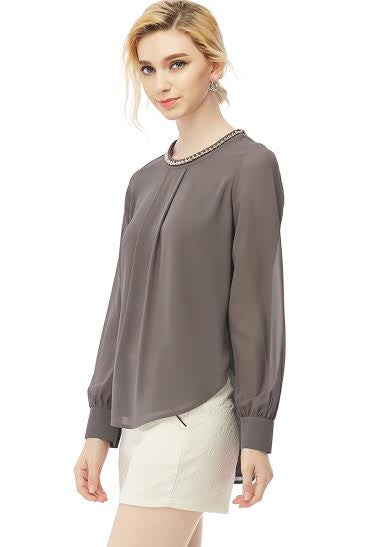 Long Sleeve Charcoal Blouse with Chain Detail Attached on Neckline - Serob  - 5