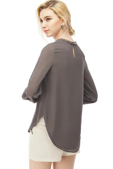 Long Sleeve Charcoal Blouse with Chain Detail Attached on Neckline - Serob  - 2