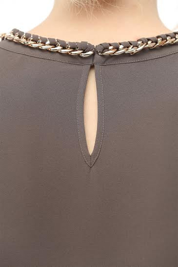 Long Sleeve Charcoal Blouse with Chain Detail Attached on Neckline - Serob  - 3