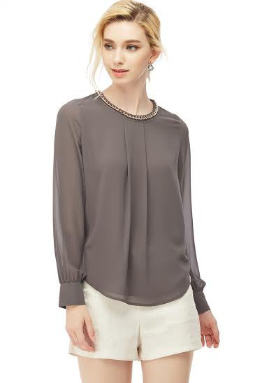 Long Sleeve Charcoal Blouse with Chain Detail Attached on Neckline - Serob  - 1
