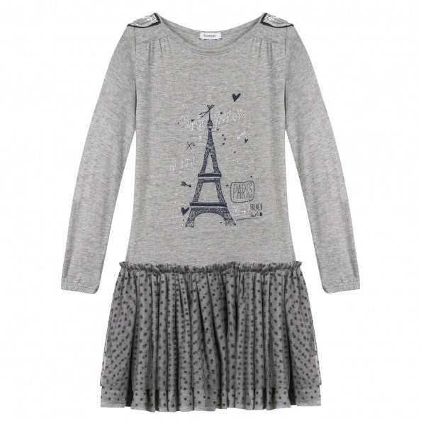 Eiffel Tower Print Fun Grey Dress for Girls - Serob  - 3
