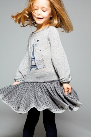 Eiffel Tower Print Fun Grey Dress for Girls - Serob  - 1