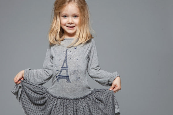 Eiffel Tower Print Fun Grey Dress for Girls