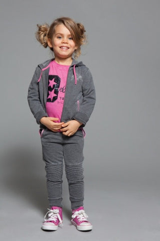 Grey Hoodie with Sweatpants Set for Girls - Serob  - 1