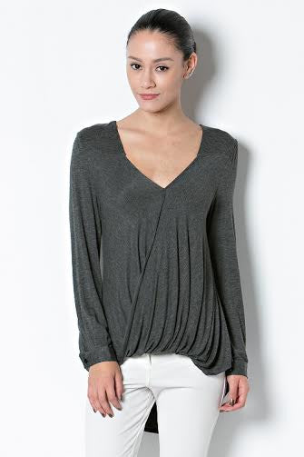 Basic Rayon Long Sleeve High Low Surplice Top - Serob