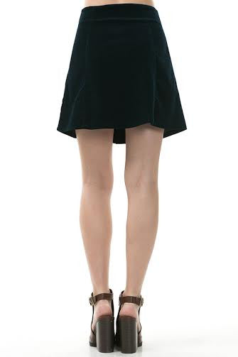 A-Line Cord Mini Skirt With Front Vertical Buttons - Serob  - 2