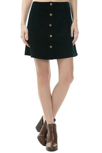 A-Line Cord Mini Skirt With Front Vertical Buttons - Serob  - 1