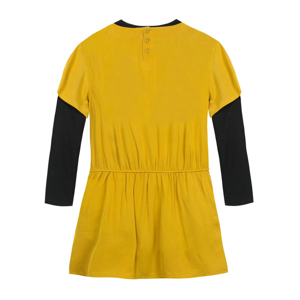 Mustard and Black Bow Dress 3PC Set for Girls - Serob  - 3
