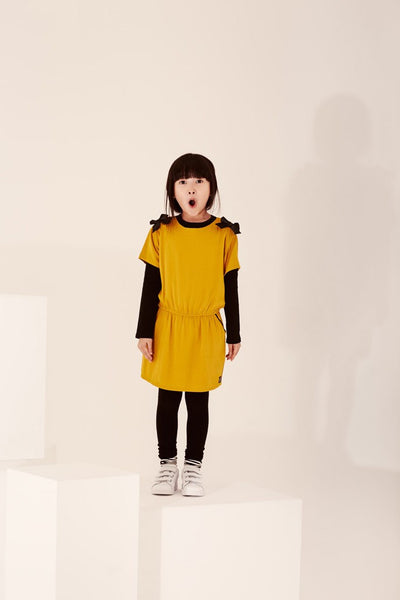 Mustard and Black Bow Dress 3PC Set for Girls - Serob  - 1
