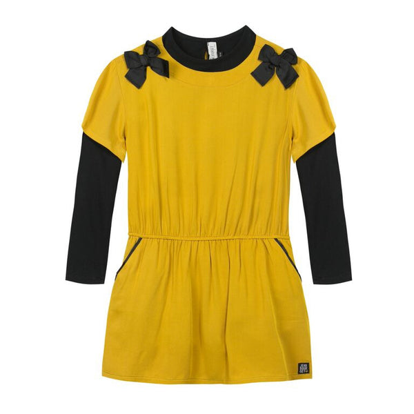 Mustard and Black Bow Dress 3PC Set for Girls - Serob  - 2