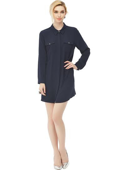 Placket Collar Dress with Pockets - Serob  - 1