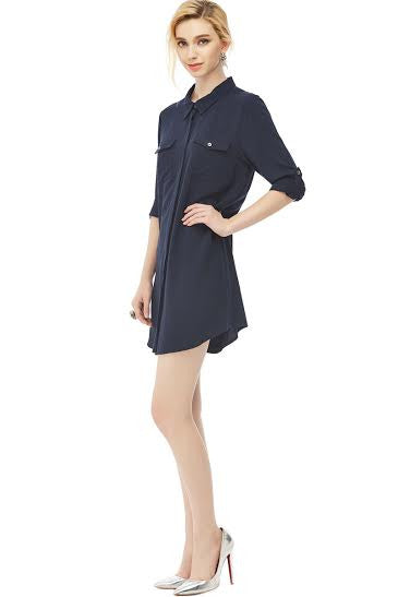 Placket Collar Dress with Pockets - Serob  - 3