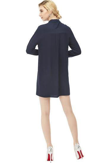 Placket Collar Dress with Pockets - Serob  - 2