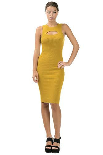 Ribbed Bodycon Sweater Dress With Front Keyhole - Serob  - 2