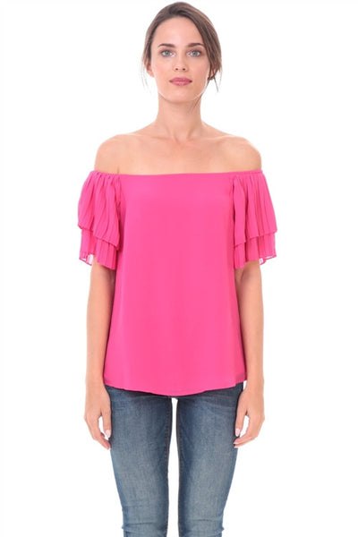 Off Shoulder Plated Sleeve Blouse