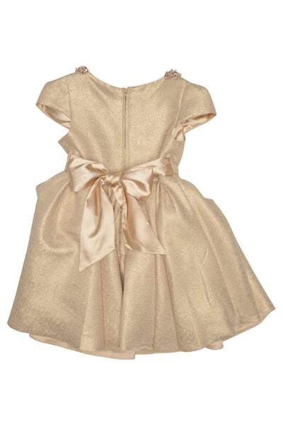 Sparkling Sequined Collar Gold Dress for Girls - Serob  - 3