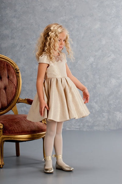 Sparkling Sequined Collar Gold Dress for Girls - Serob  - 1