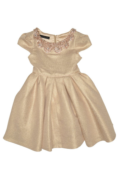 Sparkling Sequined Collar Gold Dress for Girls - Serob  - 2