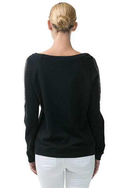 Long Sleeve Pullover Sweatshirt With Beaded Shoulder Detail - Serob  - 4
