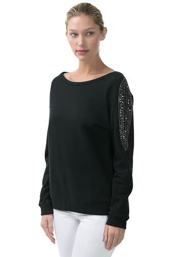 Long Sleeve Pullover Sweatshirt With Beaded Shoulder Detail - Serob  - 3