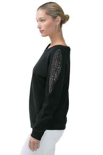 Long Sleeve Pullover Sweatshirt With Beaded Shoulder Detail - Serob  - 5