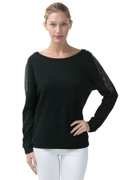 Long Sleeve Pullover Sweatshirt With Beaded Shoulder Detail