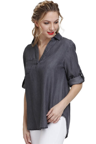 Single Pocket Grey Top