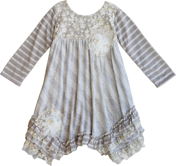 Whimsical Wishes Long Sleeve A Line Dress for Girls - Serob