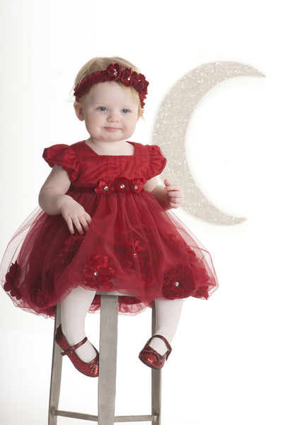 Baby Girl Red Tulle Bubble Party Dress - Serob