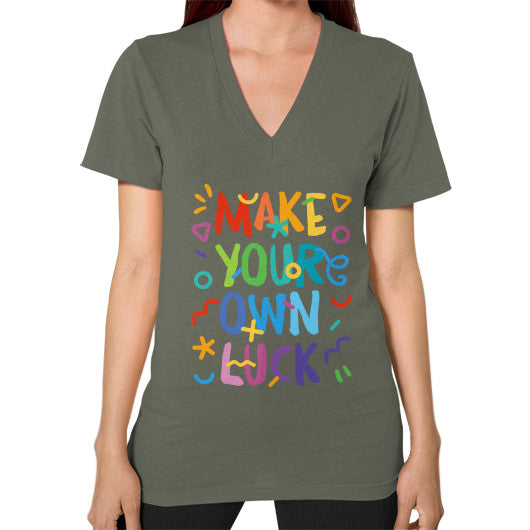 Make your Own Luck V-Neck T-Shirt - Serob  - 8