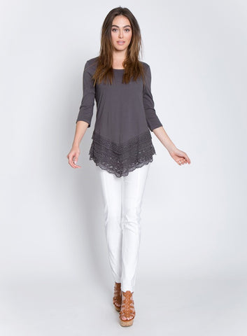 LAYERED CROCHET LACE FRONT DIP KNIT TOP