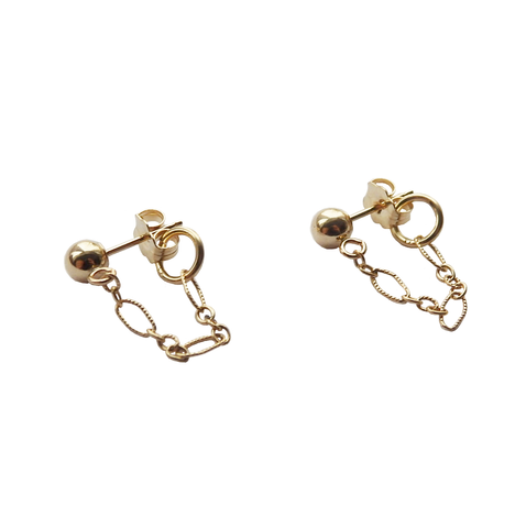 14 karat Gold Ball Chain Stud Earrings