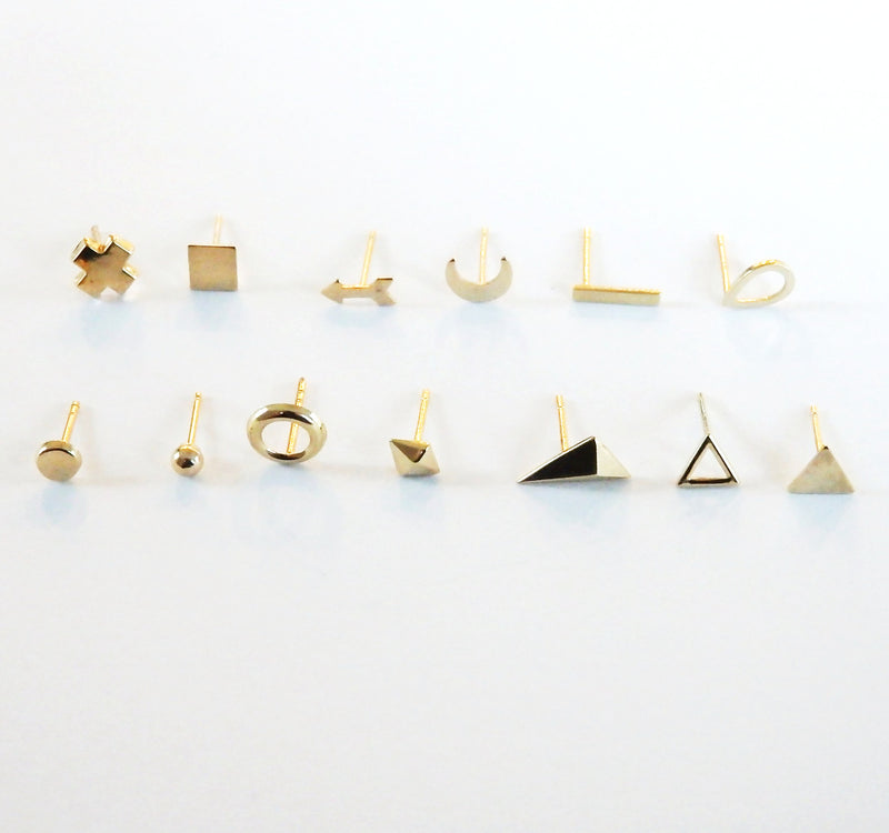 14 karat Gold Studs Mix and Match - Single