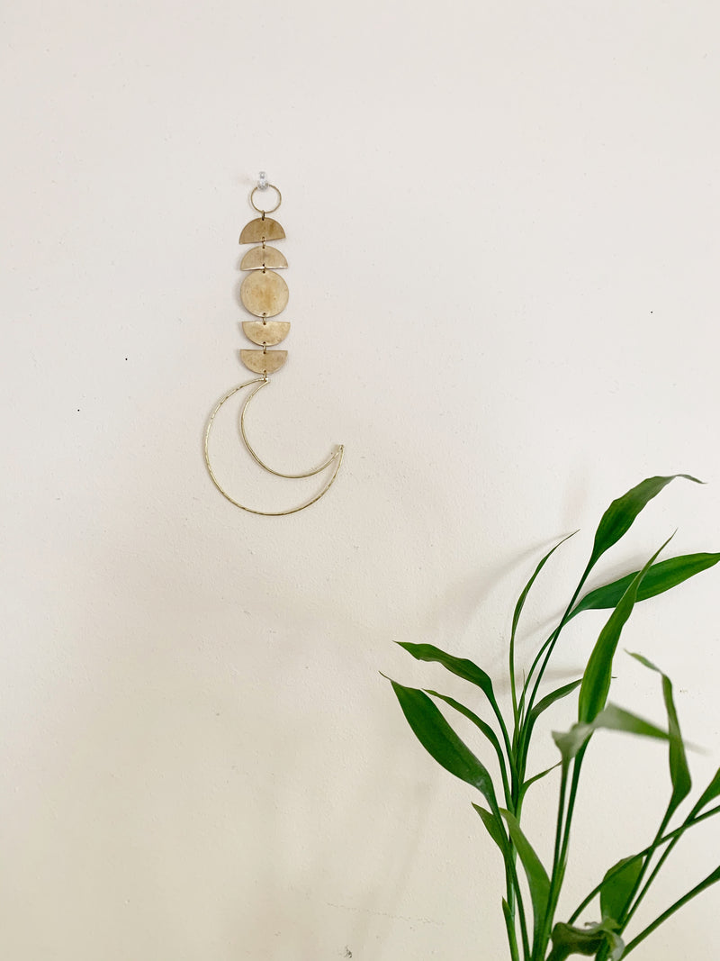 Brass Semi Circle Wall Hanging with Open Moon