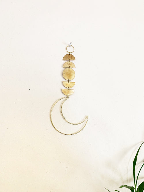 Metrix Jewelry - Brass Semi Circle Wall Hanging with Open Moon