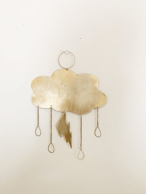 Metrix Jewelry - Cloud and Lightning Bolt Brass Wall Hanging